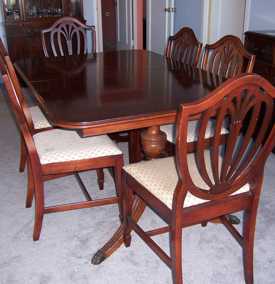 004 Ixlib Rb Fit Crop Auto Format Vintage Duncan Phyfe Style Dining Table Chairs Ebth