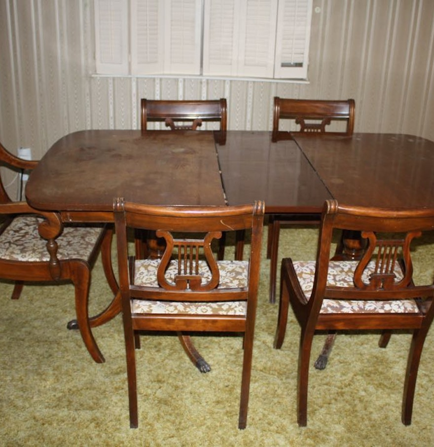 Ixlib Rb Fit Crop Auto Format Duncan Phyfe Style Dining Table Chairs Ebth
