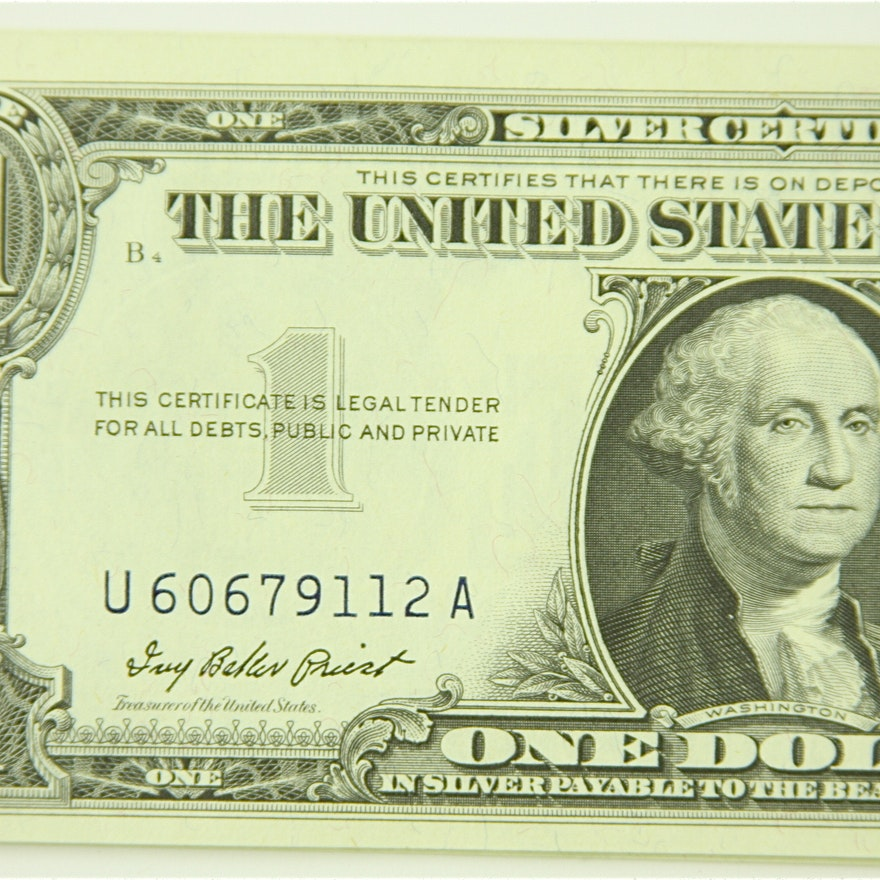 Group Of 10 1957 One Dollar Silver Certificates With Blue Seal