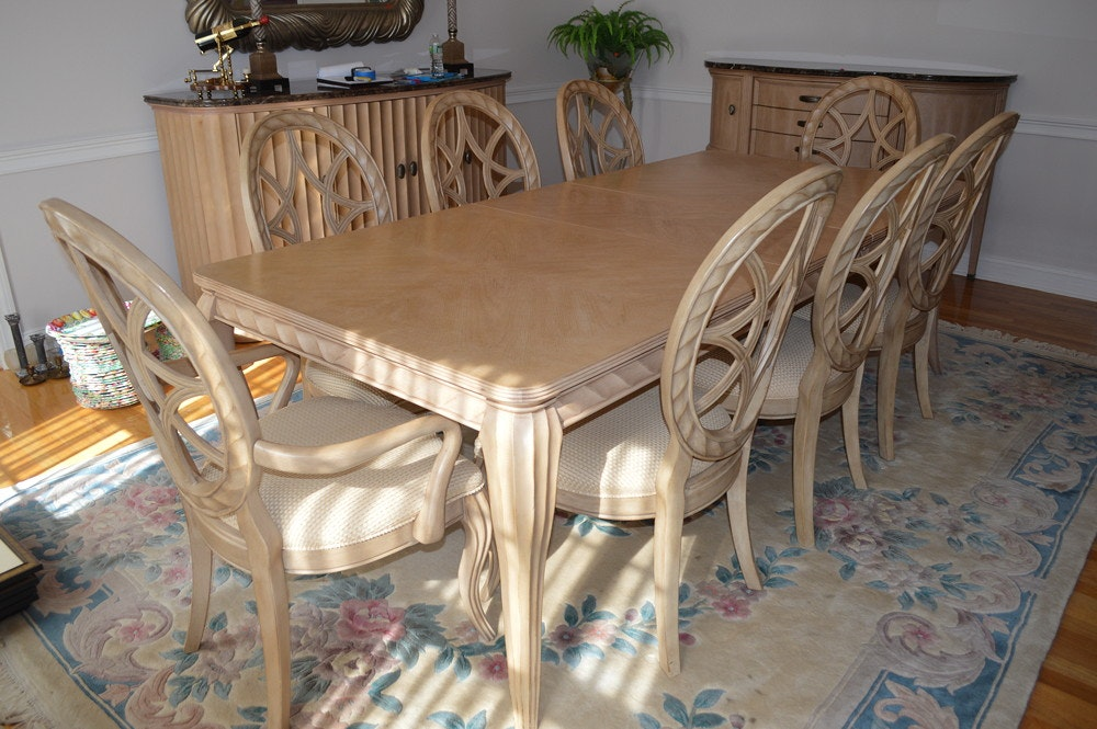 Contemporary Dining Table with 8 chairs