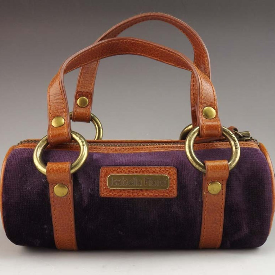 66a654de80 Isabella Fiore Purple Velvet and Leather Purse   EBTH