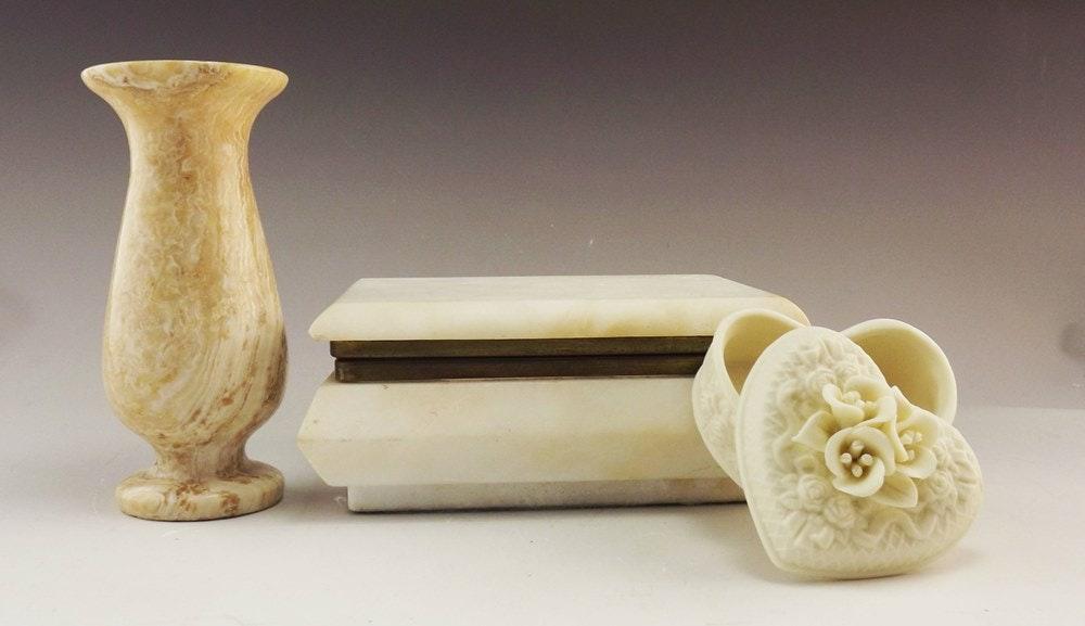 White Alabaster Box Marble Vase And Porcelain Box Ebth