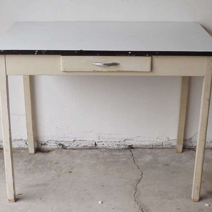 Vintage Industrial Space Age Coffee Table For Sale At Pamono: 1930's White Enamel Kitchen Table : EBTH