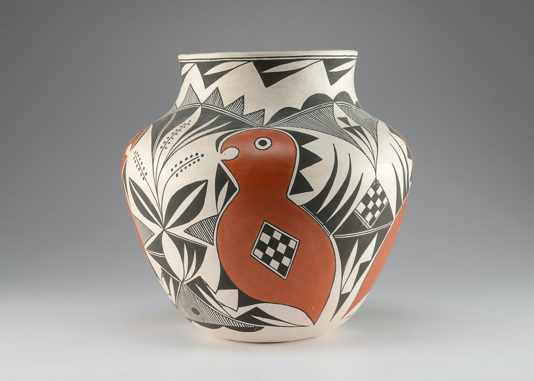 Modern Acoma Olla, Polyychrome Painted, Vallo