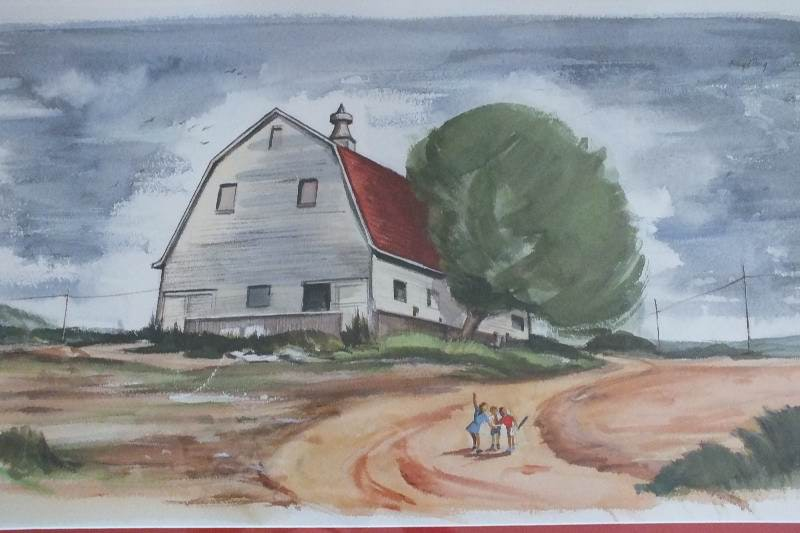 An original watercolor landscape signed by Cincinnati Artist, Floyd Berg