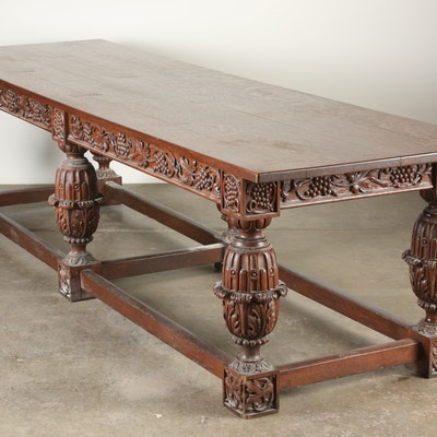Impressive Tudor - Revival Oak Refectory Table - Online Furniture Auctions Vintage Furniture Auction Antique