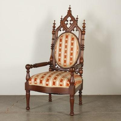 Victorian Walnut Gothic Revival Arm Chair - Online Furniture Auctions Vintage Furniture Auction Antique