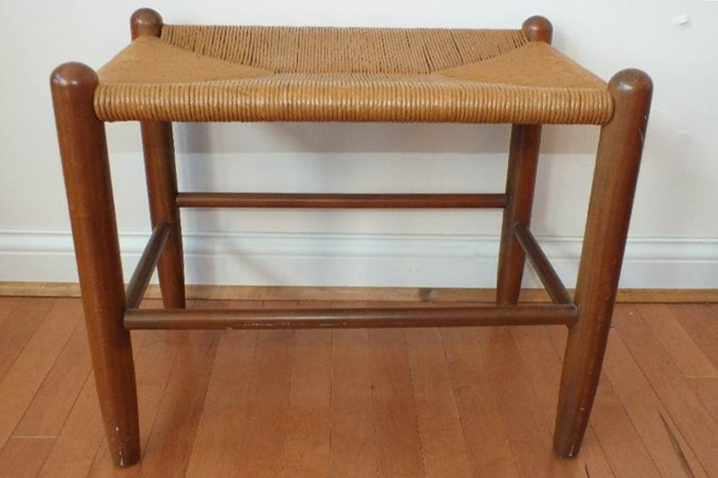 A Very Nice Mid Century Stool With Rush Seat And Solid Cherry Legs With  Nice Aged