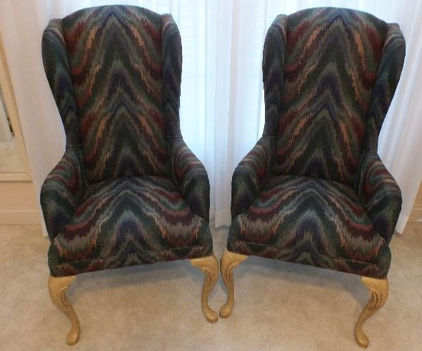 A Pair Of Queen Anne Style Wing Back Chairs Upholstered With A Flame Stitch  Pattern Blended