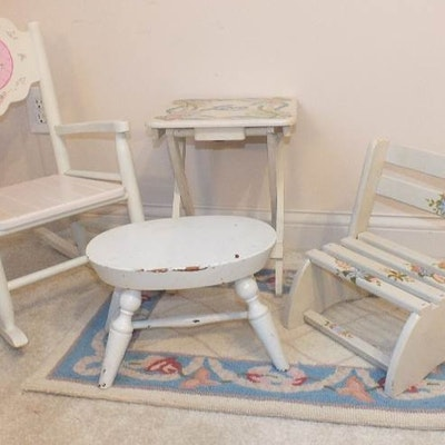 A cute set of furniture which consists of a white wood rocker from  Kidcraft  a. Vintage Chairs  Antique Chairs and Retro Chairs Auction in