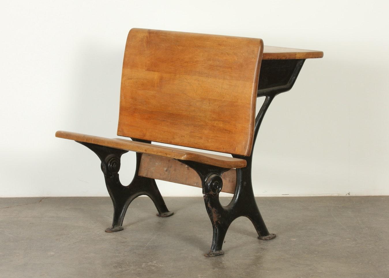 A Theodor Kundtz Eclipse Antique School Desk #6, ...
