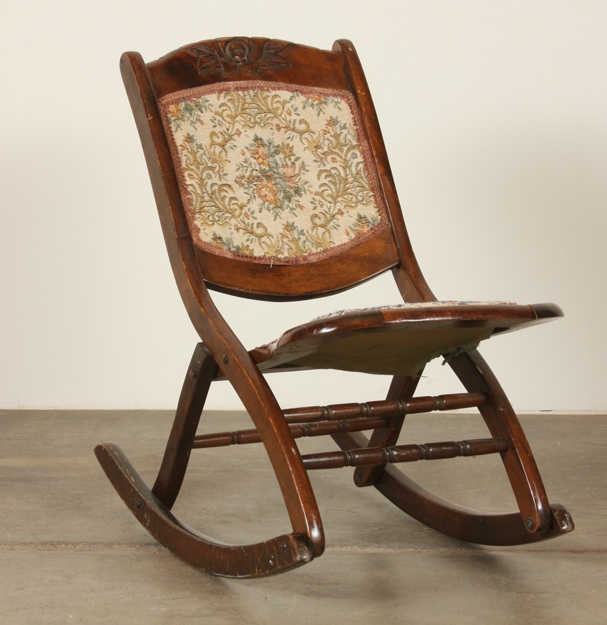 Victorian rocking chair - Victorian Era Folding Rocking Chair