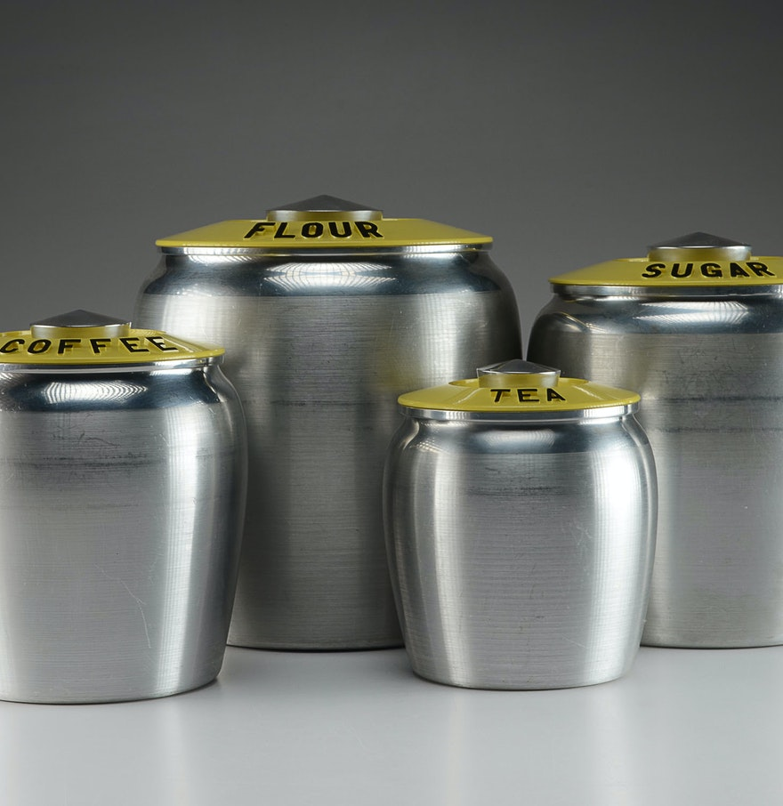 Yellow Spun Aluminum Kromex Kitchen Canister Set : EBTH