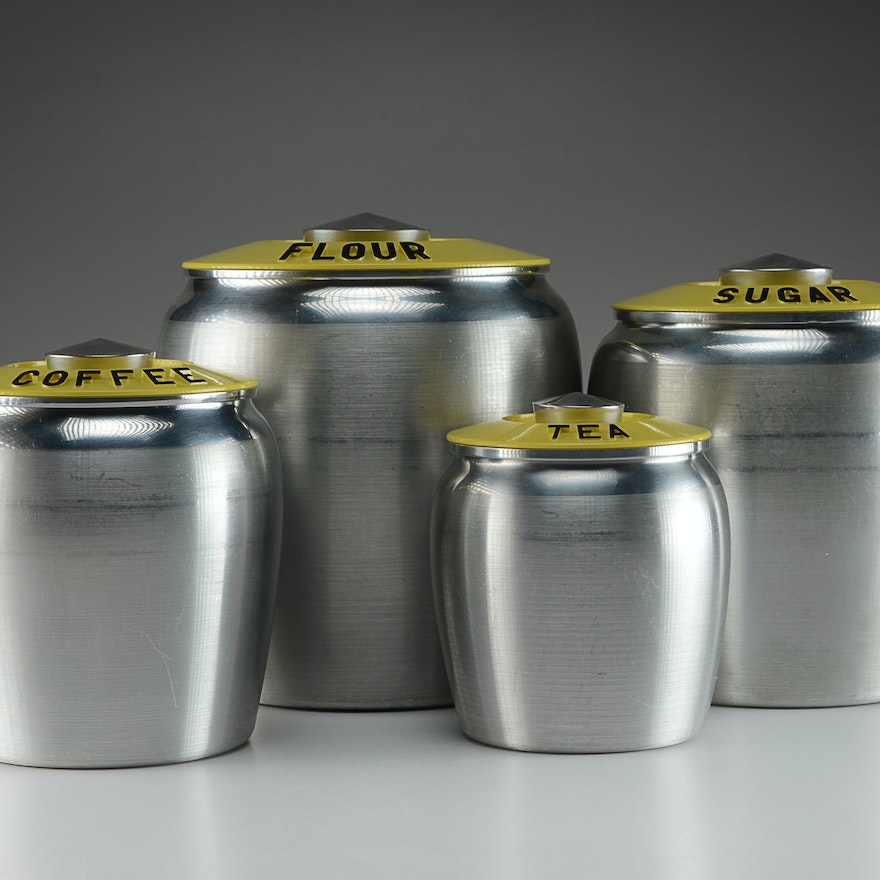 Yellow Spun Aluminum Kromex Kitchen Canister Set