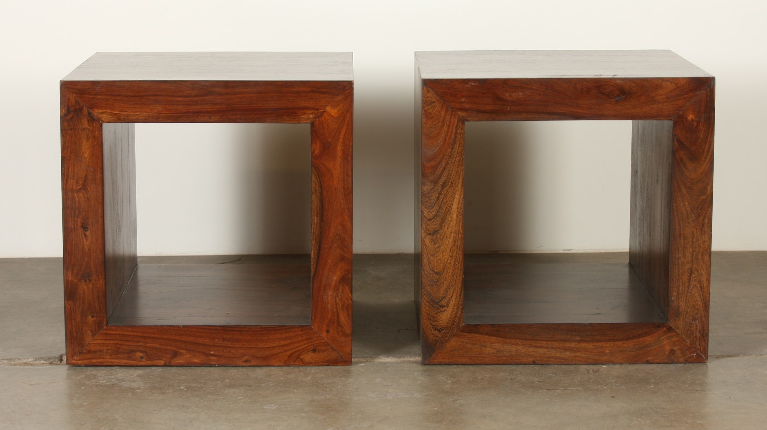 Charmant Contemporary Wood Hollow Cube End Tables ...