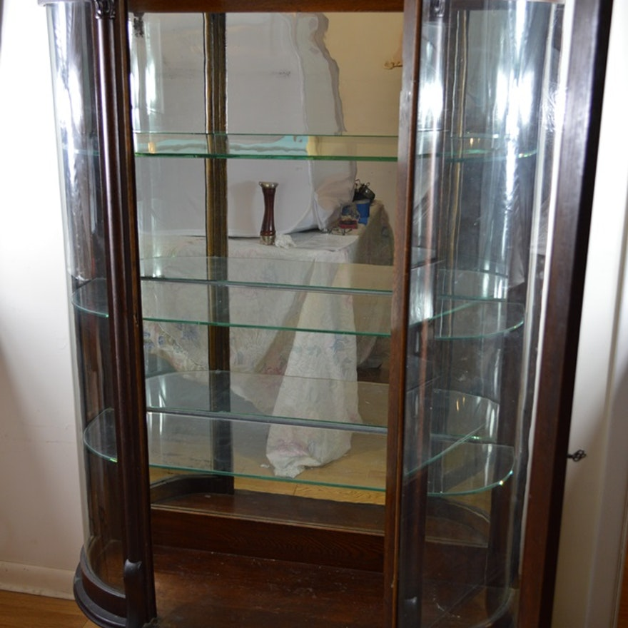 Antique Curio Cabinet with Oval Curved Glass ... - Antique Curio Cabinet With Oval Curved Glass : EBTH