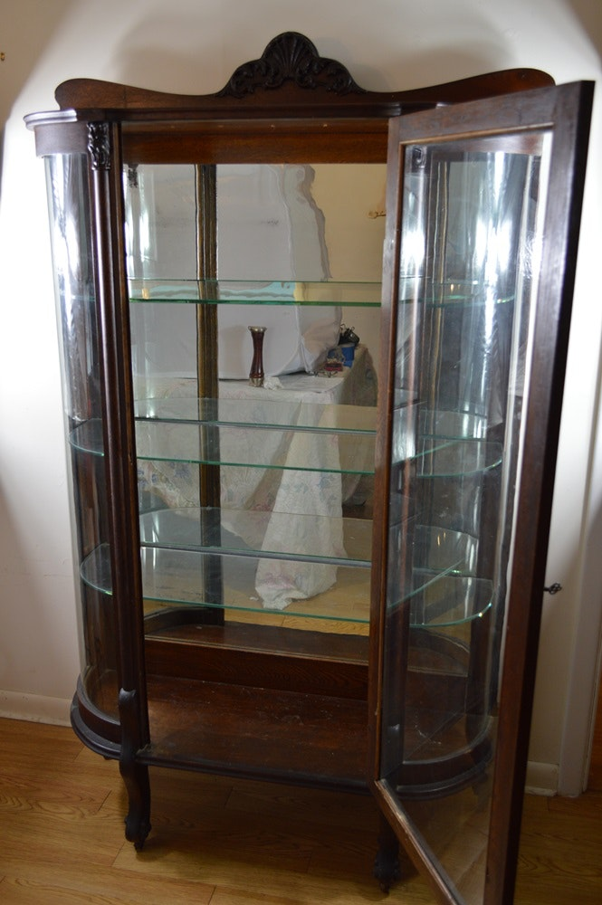 Antique Curio Cabinet With Oval Curved Glass Ebth