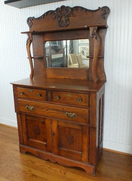 Antique Oak Sideboard with Mirror : EBTH