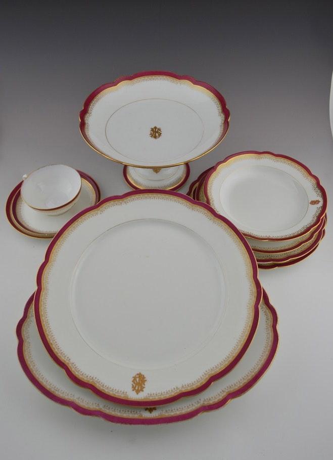 Antique French Porcelain Dinner Service \ CH Pillivuyt Cie Paris EXP.1867 Medaille ... & Antique French Porcelain Dinner Service \