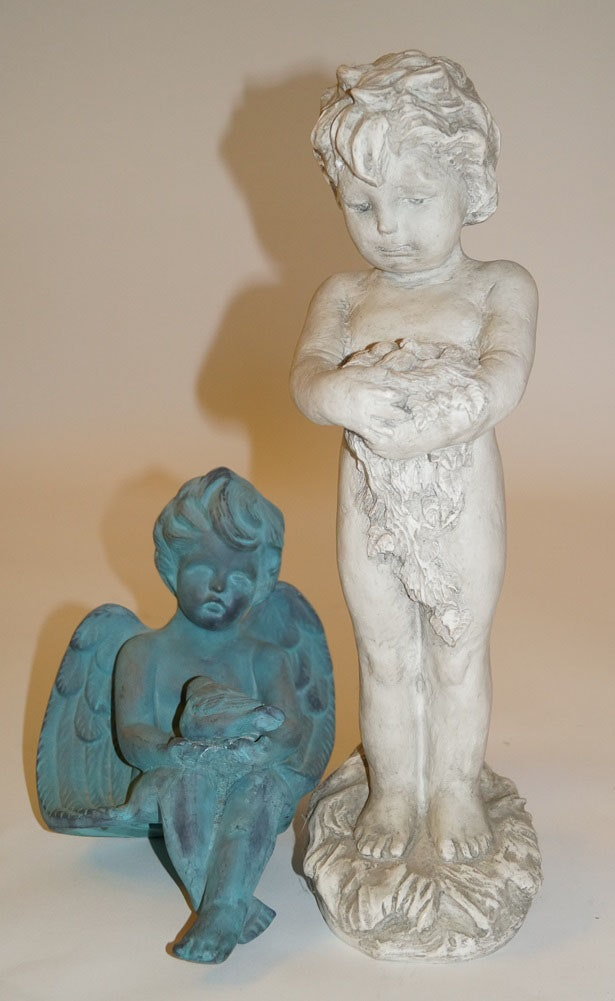 Two Small Garden Statues