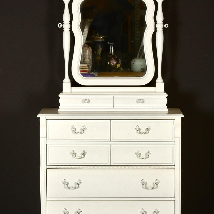 Stanley Furniture White Chest Of Drawers With Mirror Ebth