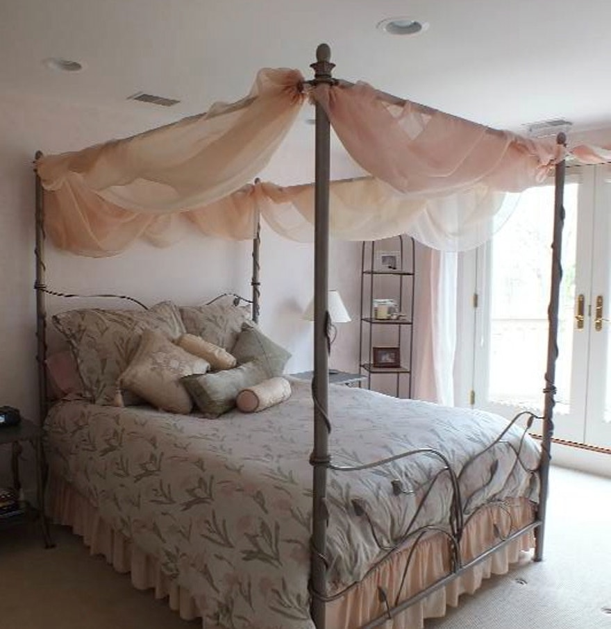 Evening Garden Iron Queen Size Four Poster Canopy Bed Ebth