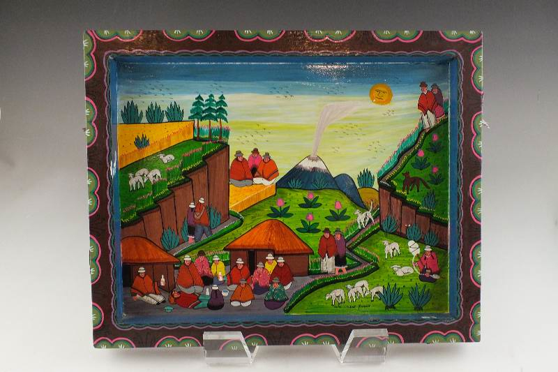Folk Art Painting Colorful Village