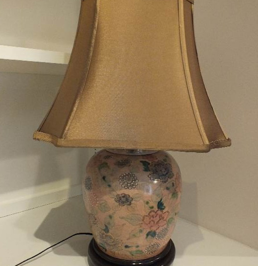 Asian Porcelain Ginger Jar Lamp With Silk Like Shade Ebth