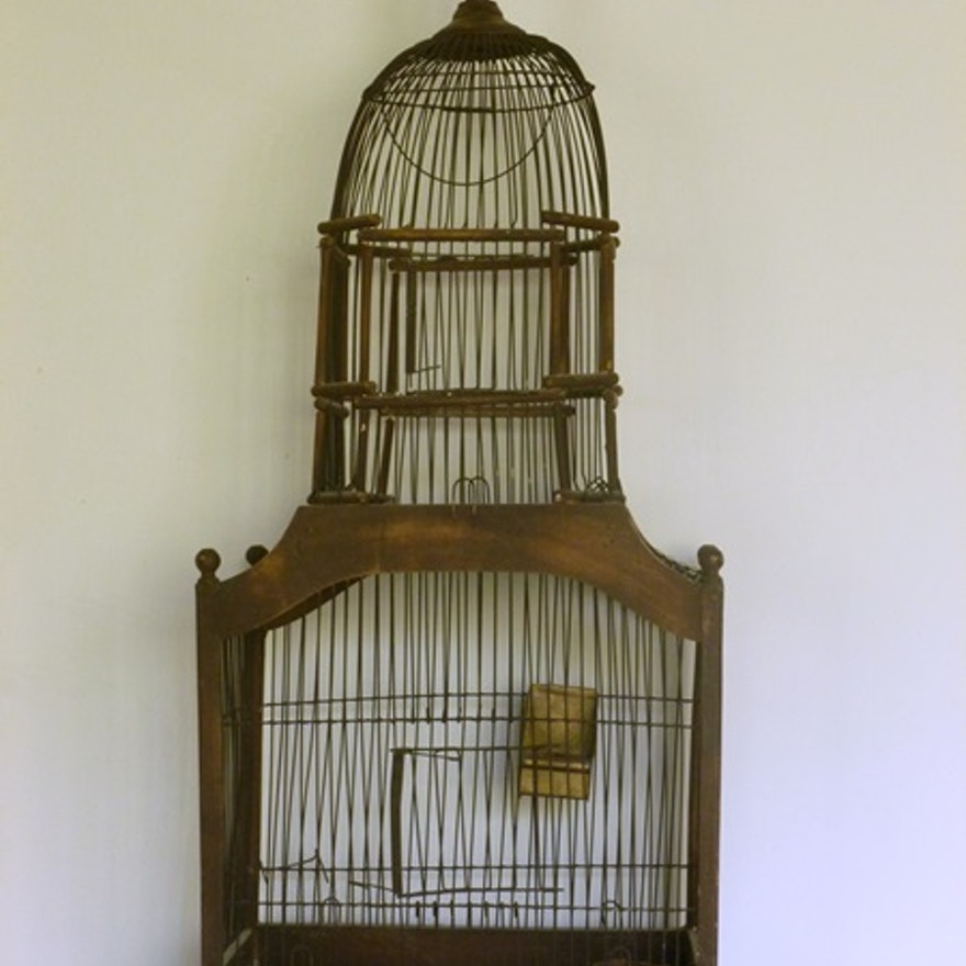 Victorian Style Wood And Wire Bird Cage Ebth