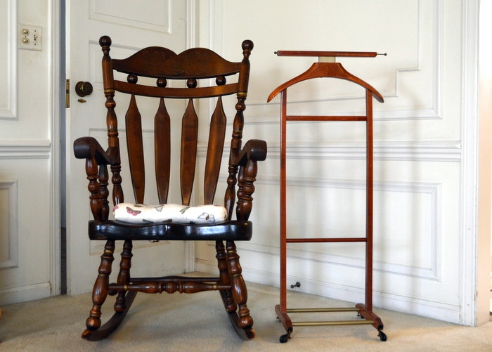 Pine Rocking Chair And Brevettato Clothes Horse ...