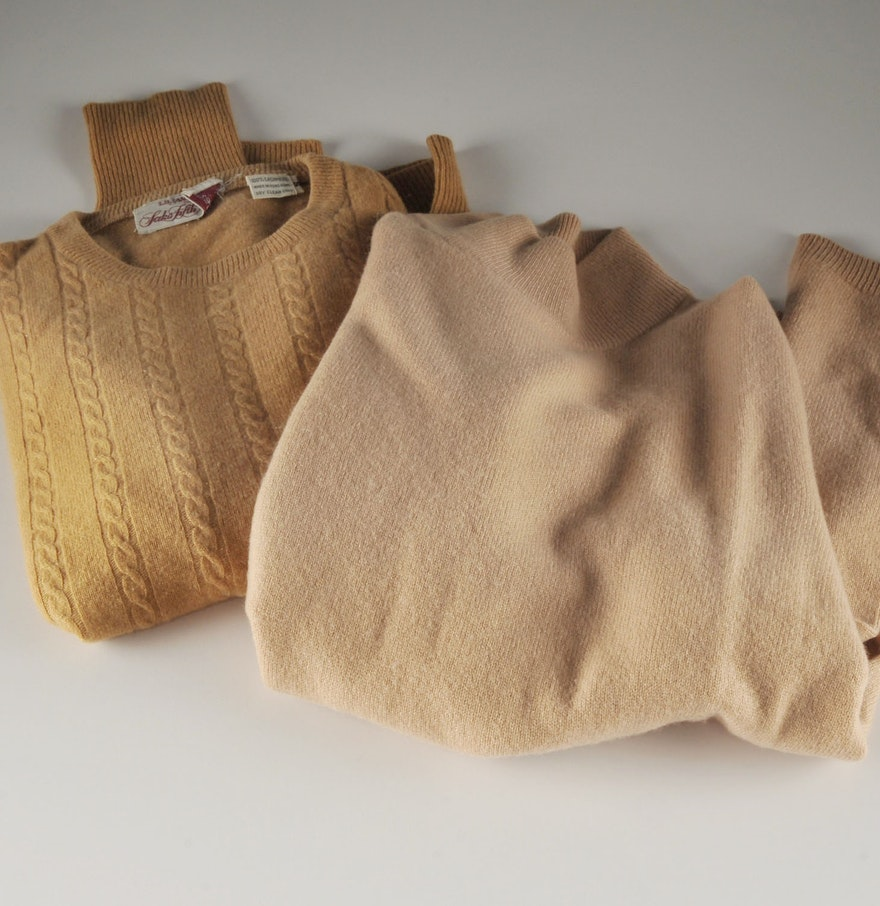 Two Tan Long Sleeve Cashmere Sweaters : EBTH