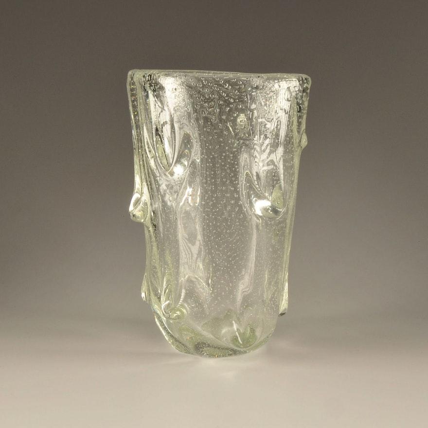 Vintage Scandinavian Art Bubble Glass Clear Crystal Vase Ebth