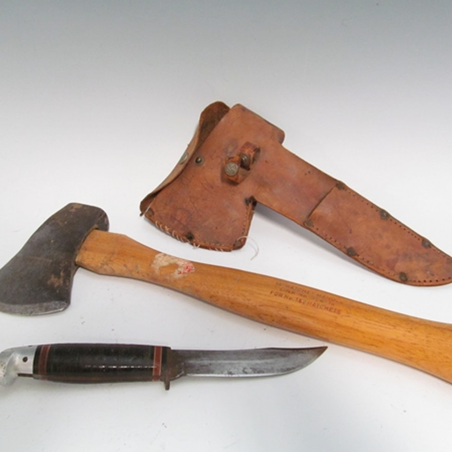 Vintage Boy Scout Knife And Axe Set Ebth