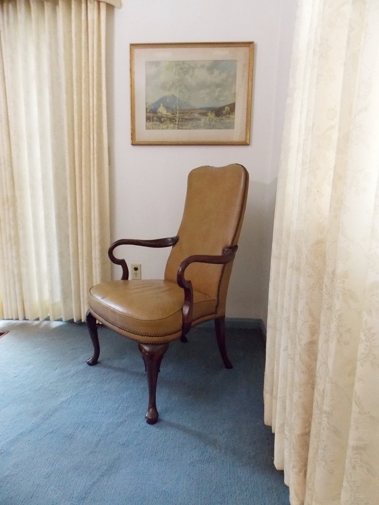 Queen Anne Style Library Arm Chair
