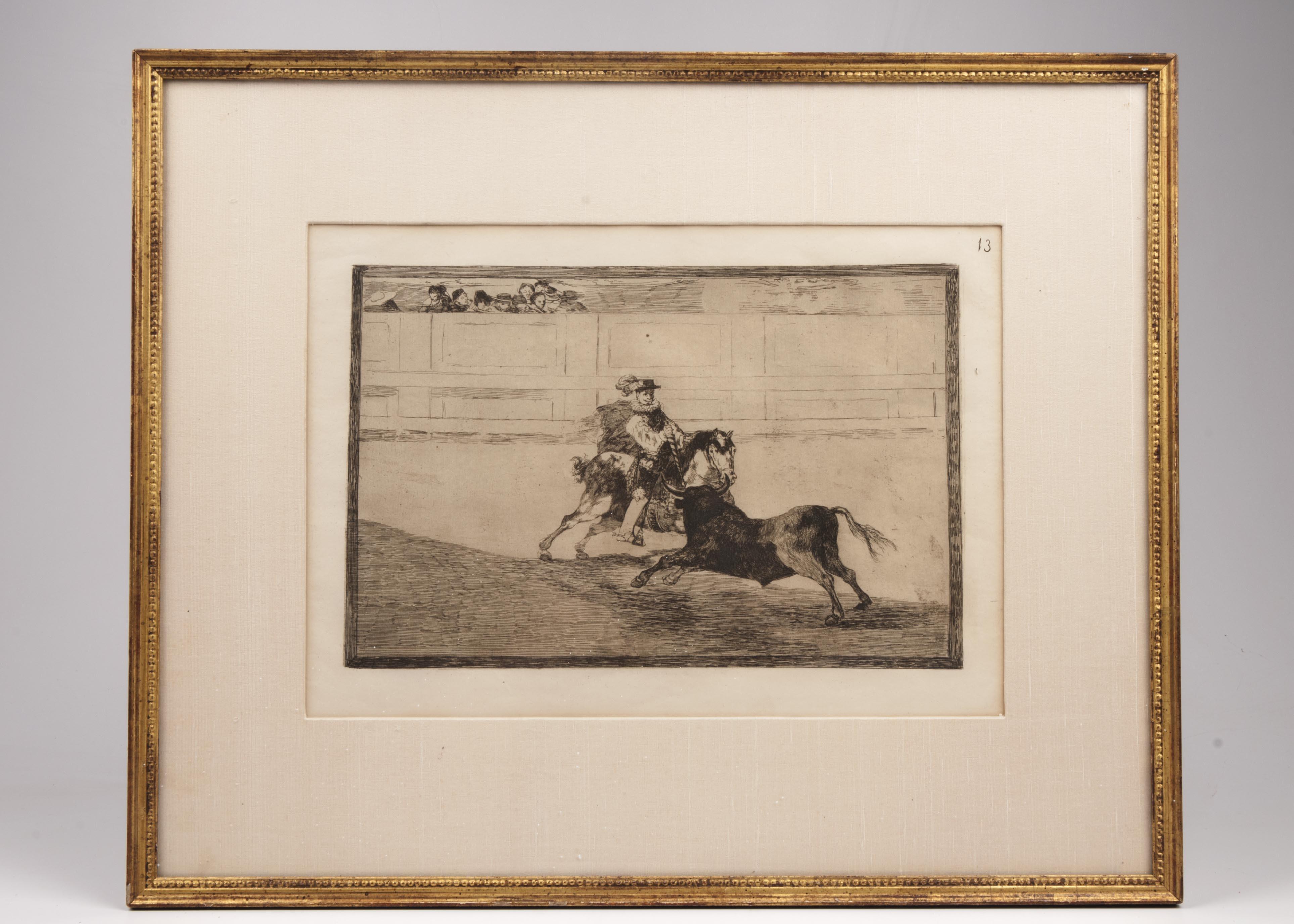 """Francisco Goya y Lucientes Etching, """"Un Caballero Espanol en Plaza Quebrando Rejoncillos sin Auxilio de los Chulos"""" Fourth State"""