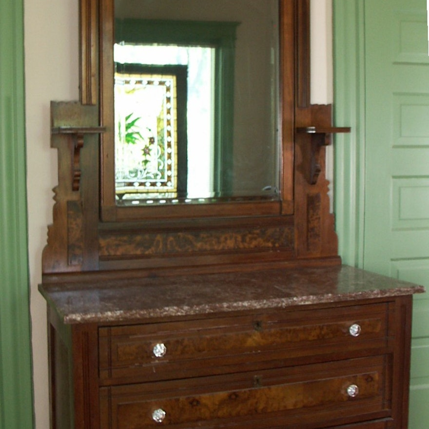Antique Eastlake Marble Top Dresser With Mirror Ebth
