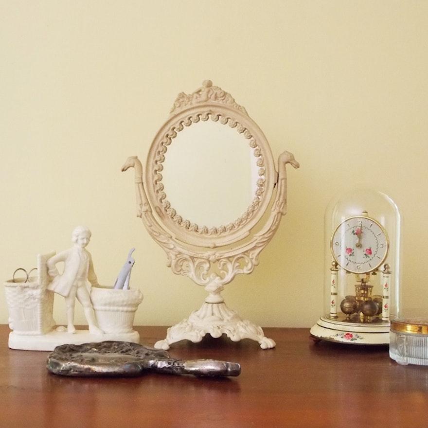 Antique Mirror with Vanity Pieces & Clock ... - Antique Mirror With Vanity Pieces & Clock : EBTH