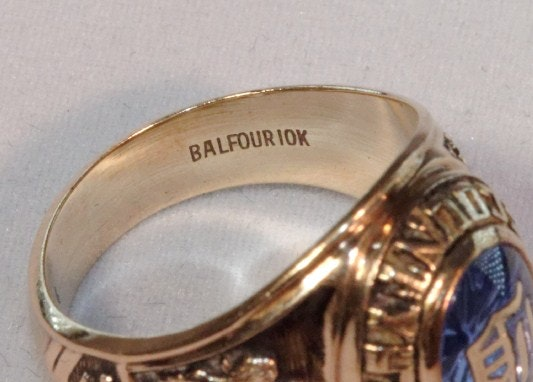 10K gold Class Ring with Blue stone to center : EBTH  10K gold Class ...