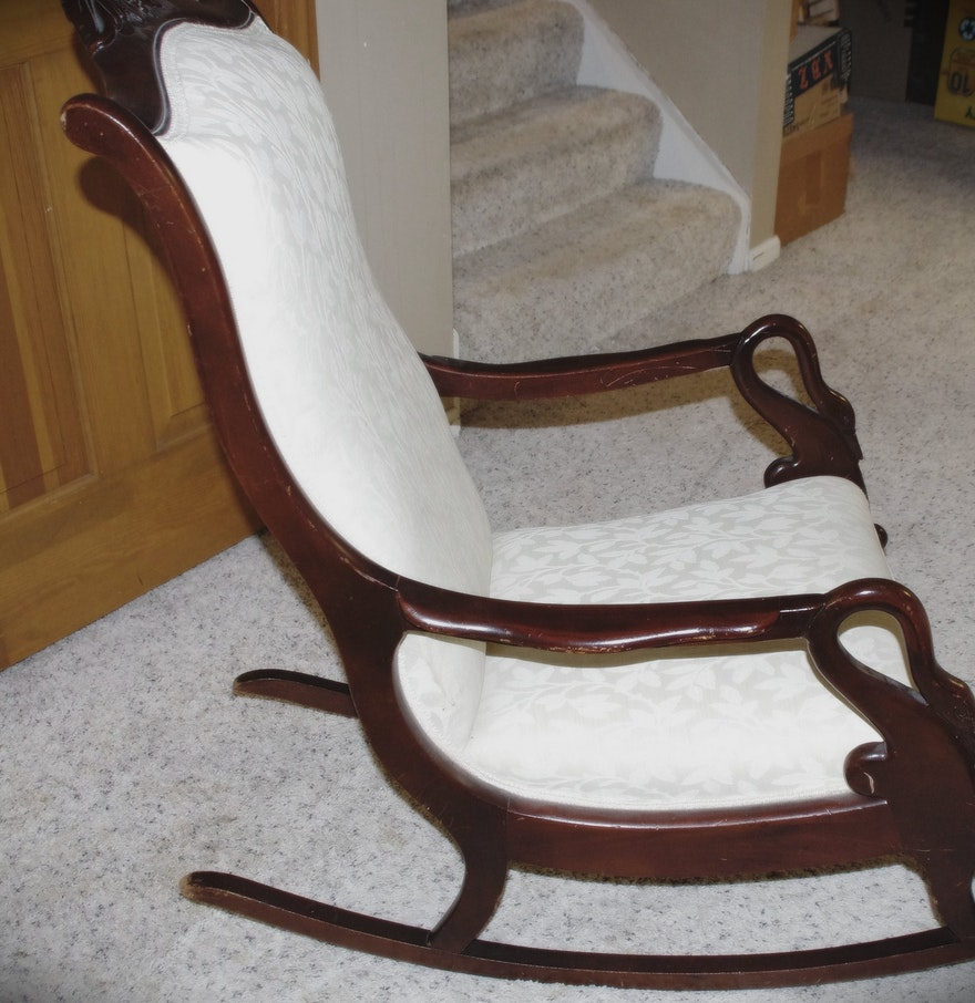 Early Century Rocking Chair with Swan arm handles and beautiful – Swan Arm Rocking Chair