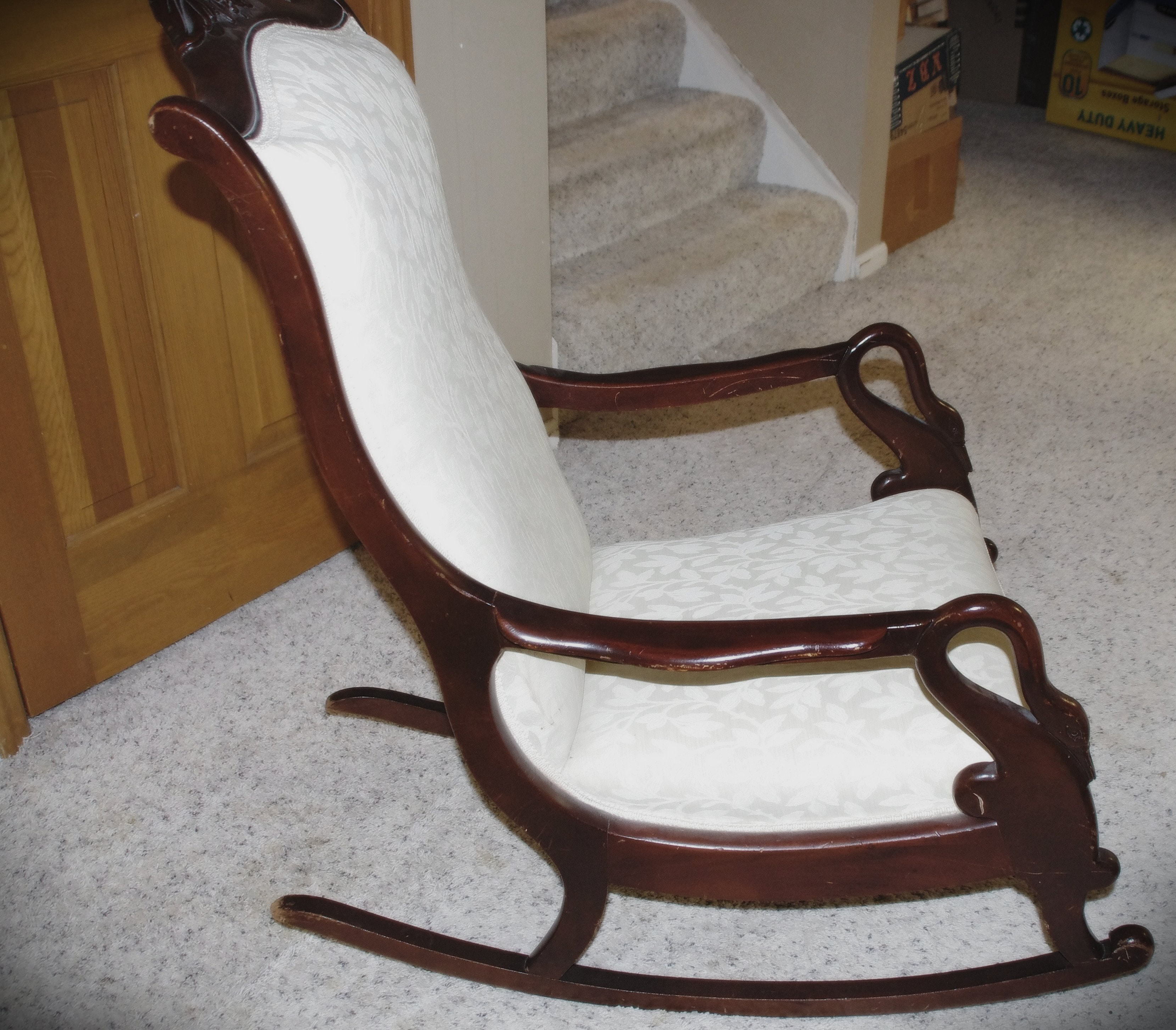 Early Century Rocking Chair With Swan Arm Handles And Beautiful Cream  Upholstery ...