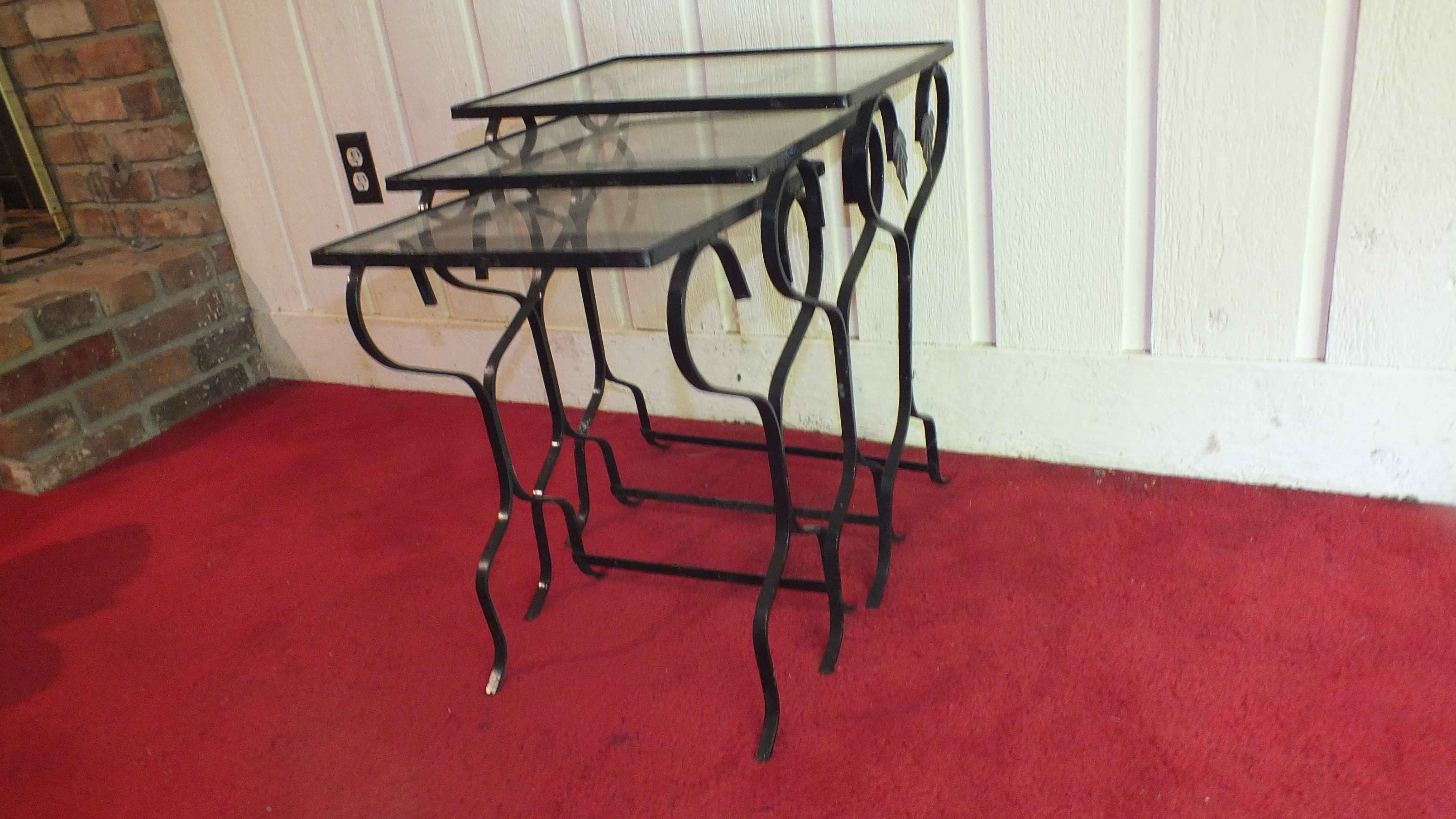Vintage Wrought Iron Nesting Tables ...