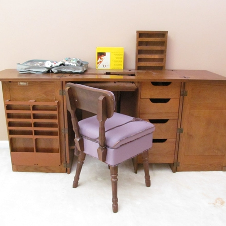 Parsons Sewing Cabinet Amp Chair Ebth