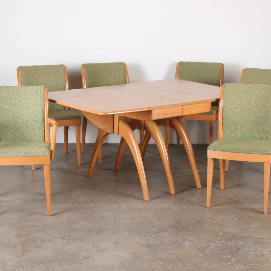Mid Century Heywood Wakefield Dining Room Table And Chairs Ebth