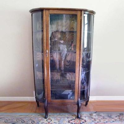 Golden Oak Curved Glass China Cabinet - Online Furniture Auctions Vintage Furniture Auction Antique