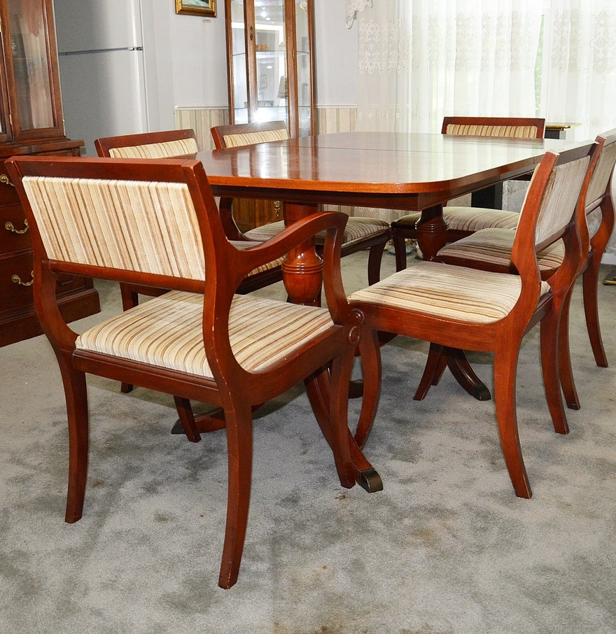 Duncan phyfe style cherry dining room table and chairs ebth for Cherry dining room chairs