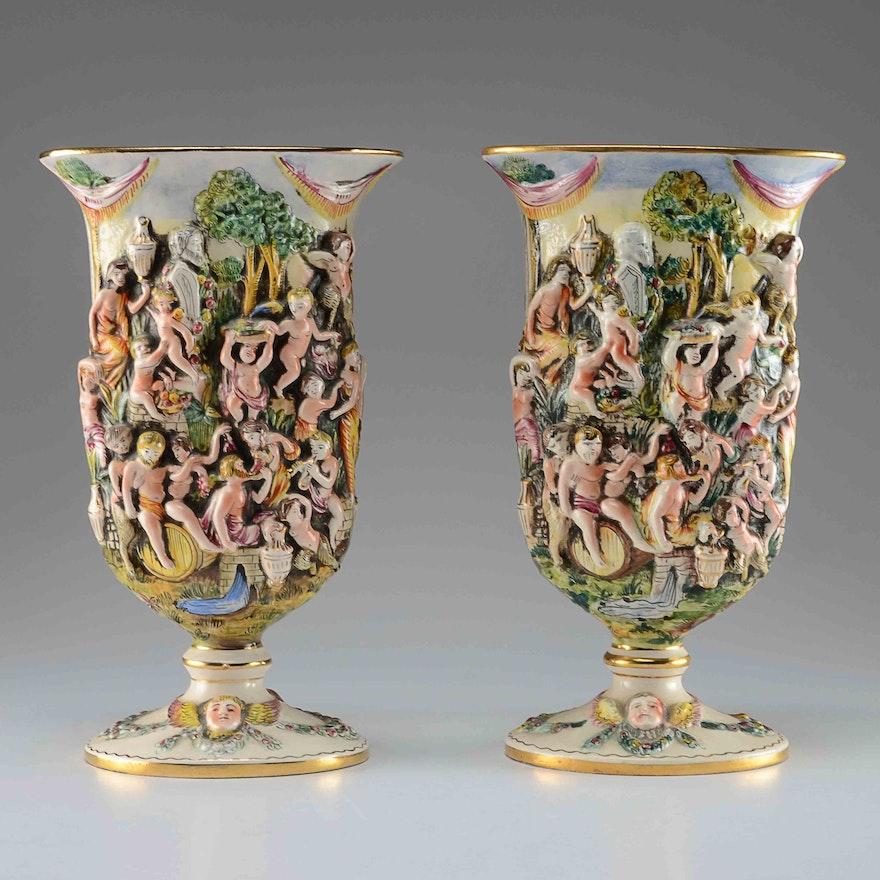 Vintage Italian Pair Of Capodimonte Vases Ebth