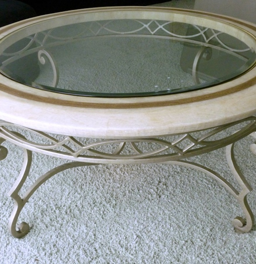 Marble Glass Top Coffee Table: Marble Rimmed Glass Top Coffee Table : EBTH