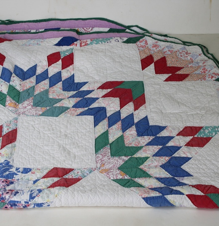 Gorgeous Antique Eight-Pointed Star Quilt : EBTH
