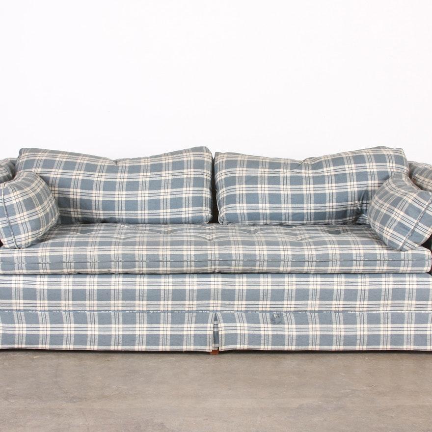 Henredon Blue and Cream Plaid Sofa : EBTH
