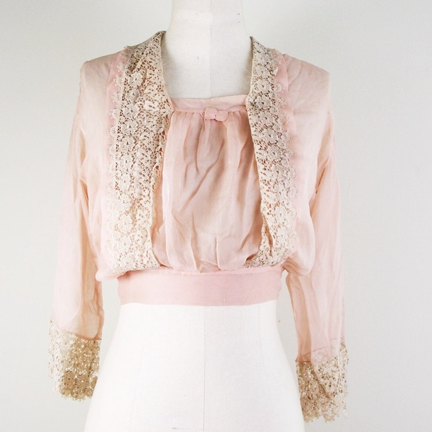 7353f01036df94 Edwardian Sheer Pink Lace Blouse   EBTH